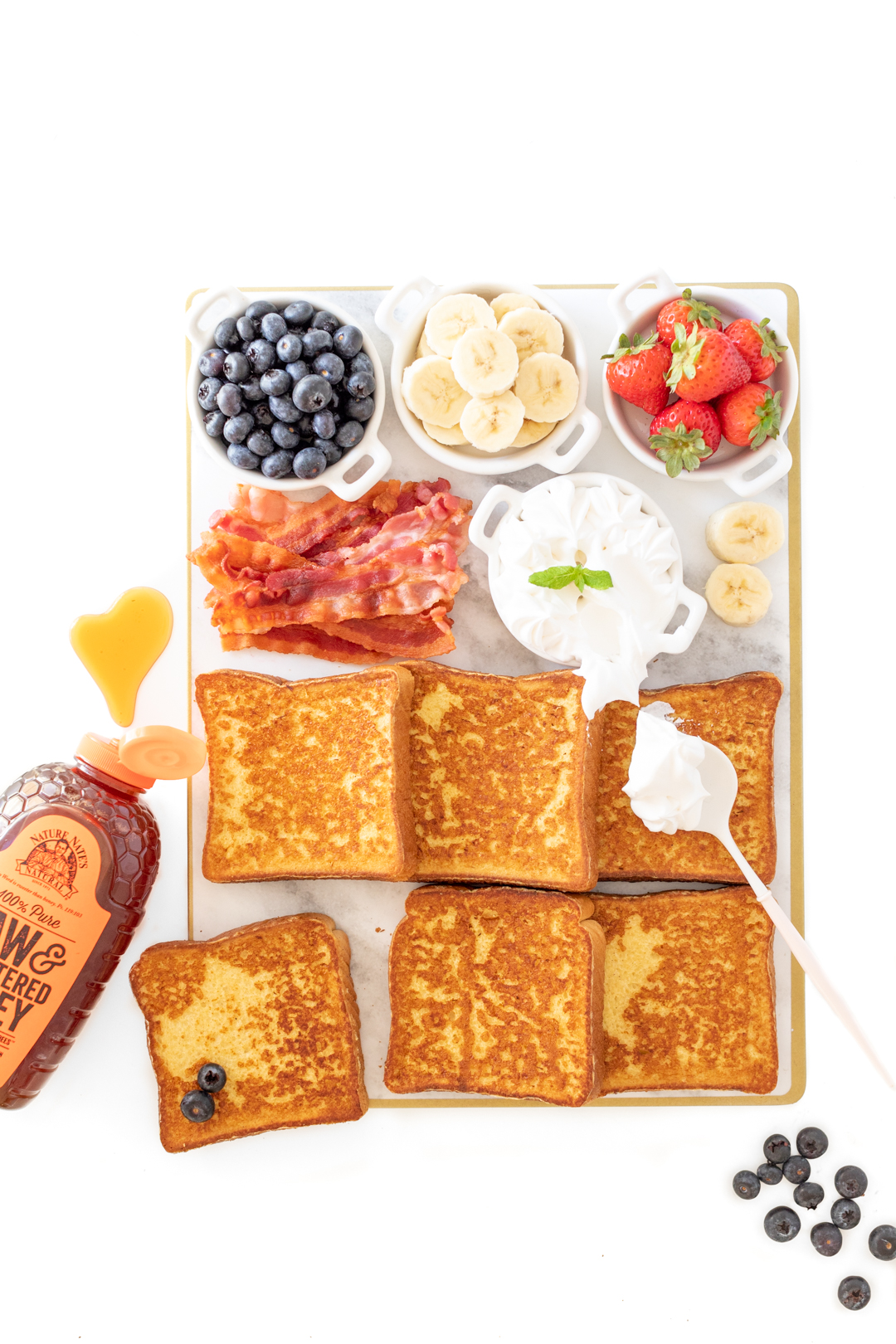 Delish french toast charcuterie board for two