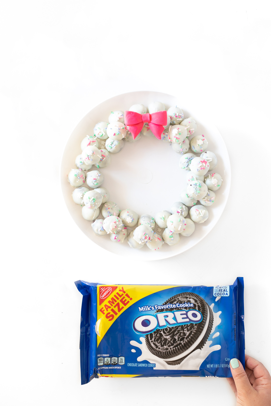 OREO Cookies used to make holiday cookie balls.