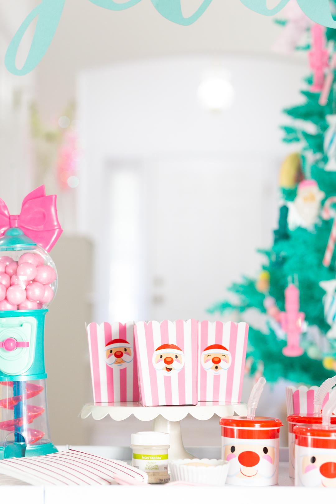 cute santa-themed popocorn cups