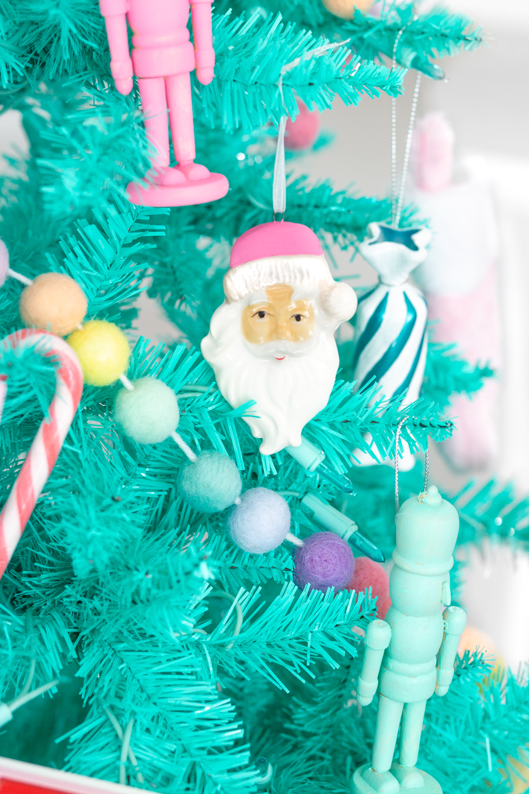 pink santa claus ornament