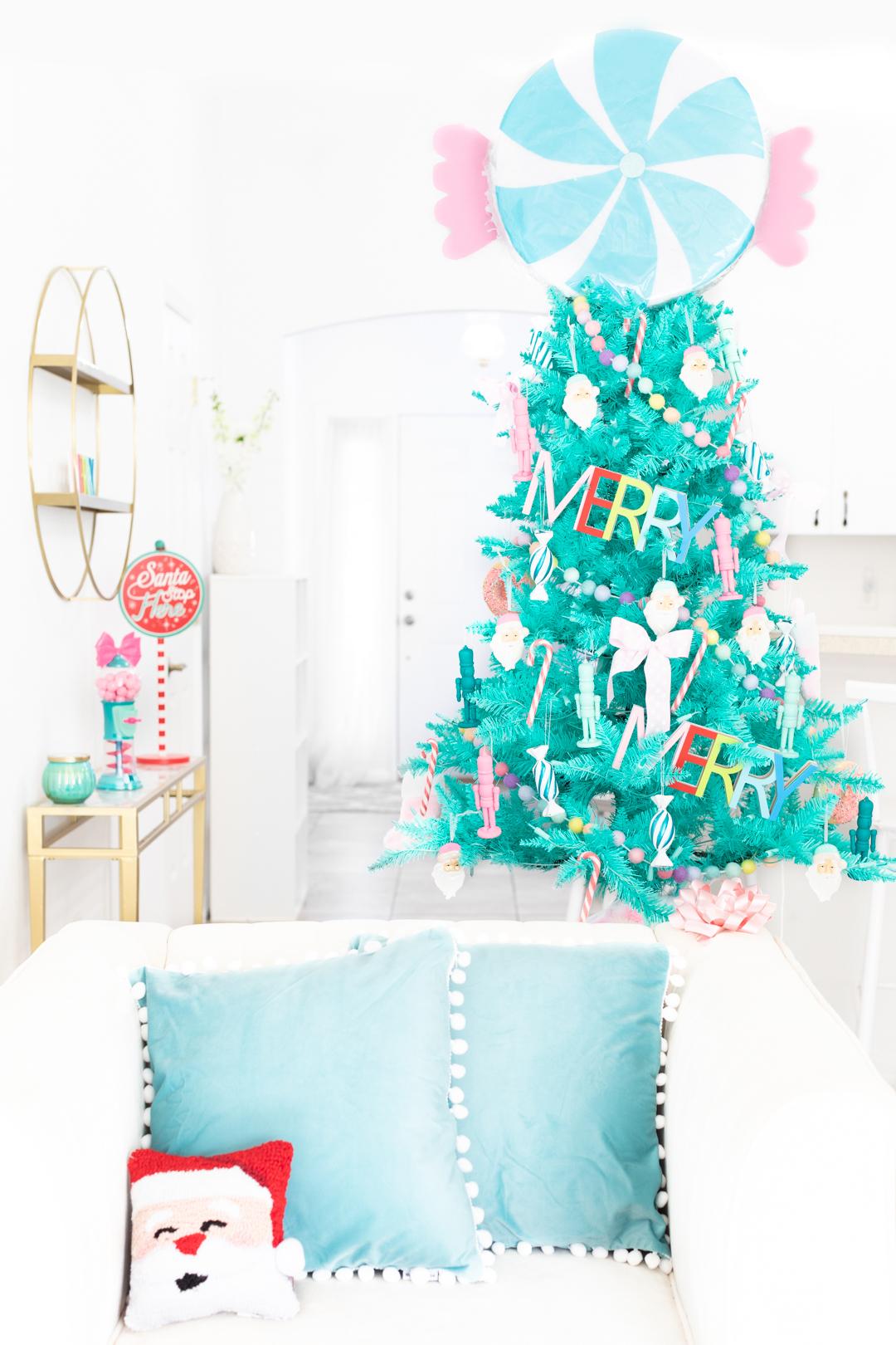 teal pastel christmas tree