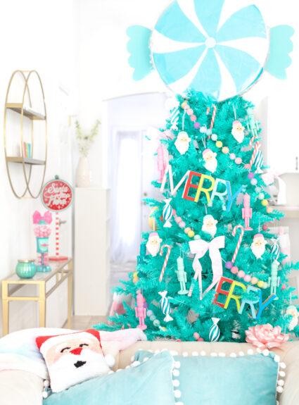 gorgeous teal christmas tree