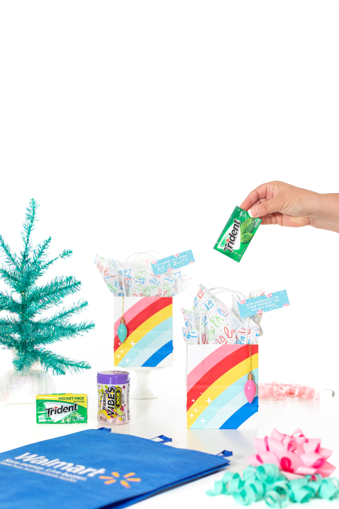 Adding gum to a gift bag for the holidays
