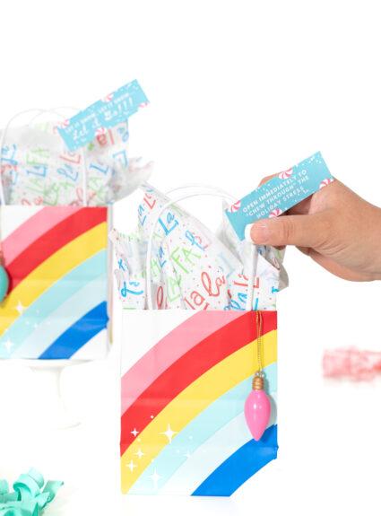cute mini rainbow gift bags for Christmas