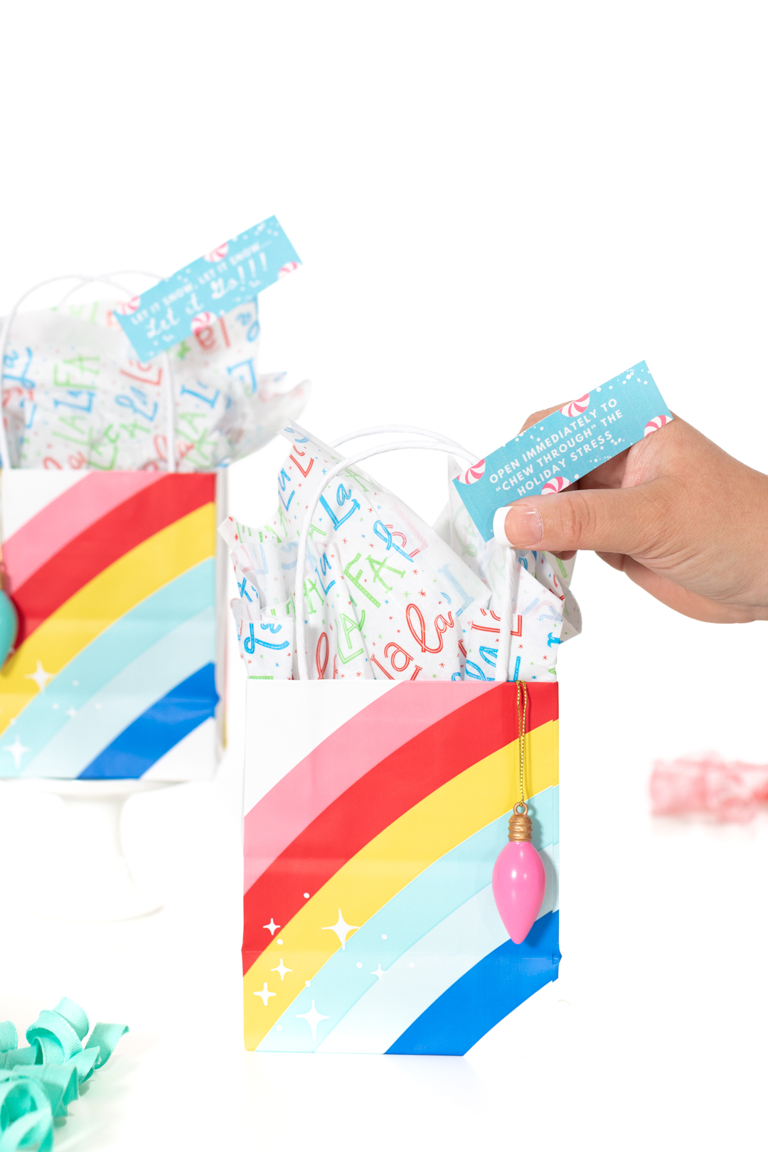 cute mini rainbow gift bags for Christmas