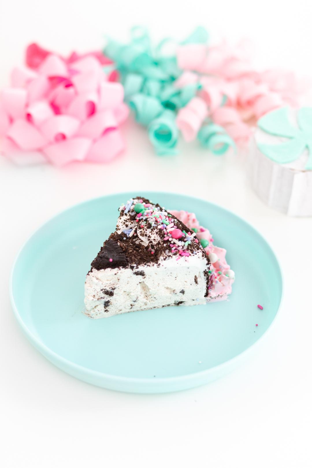 slice of OREO ice cream cake