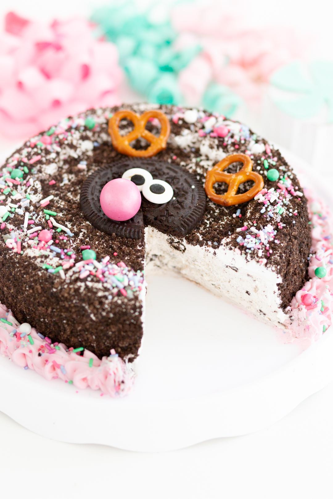 ice cream cake with slice removed