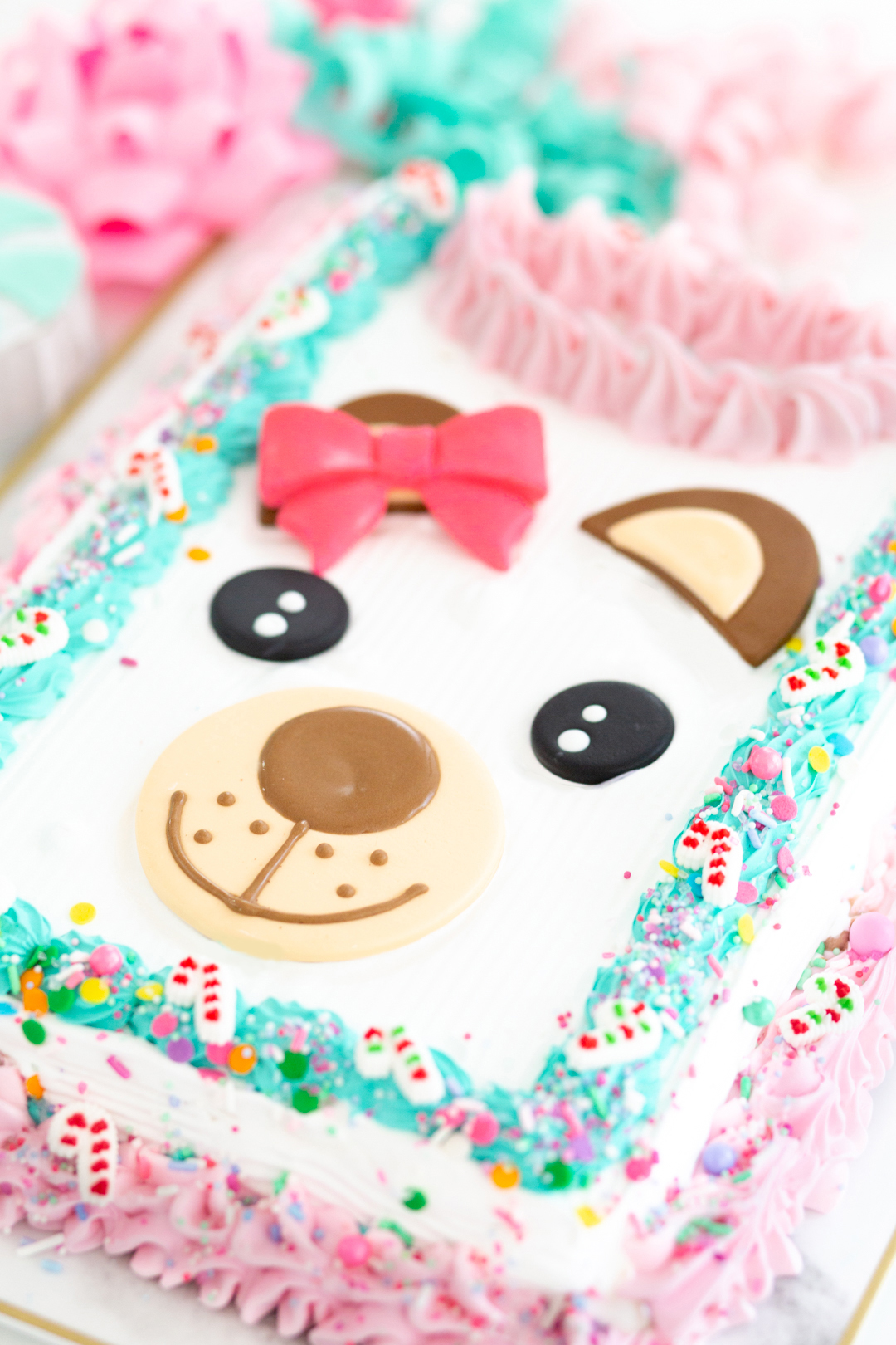 ugly sweater bear cake