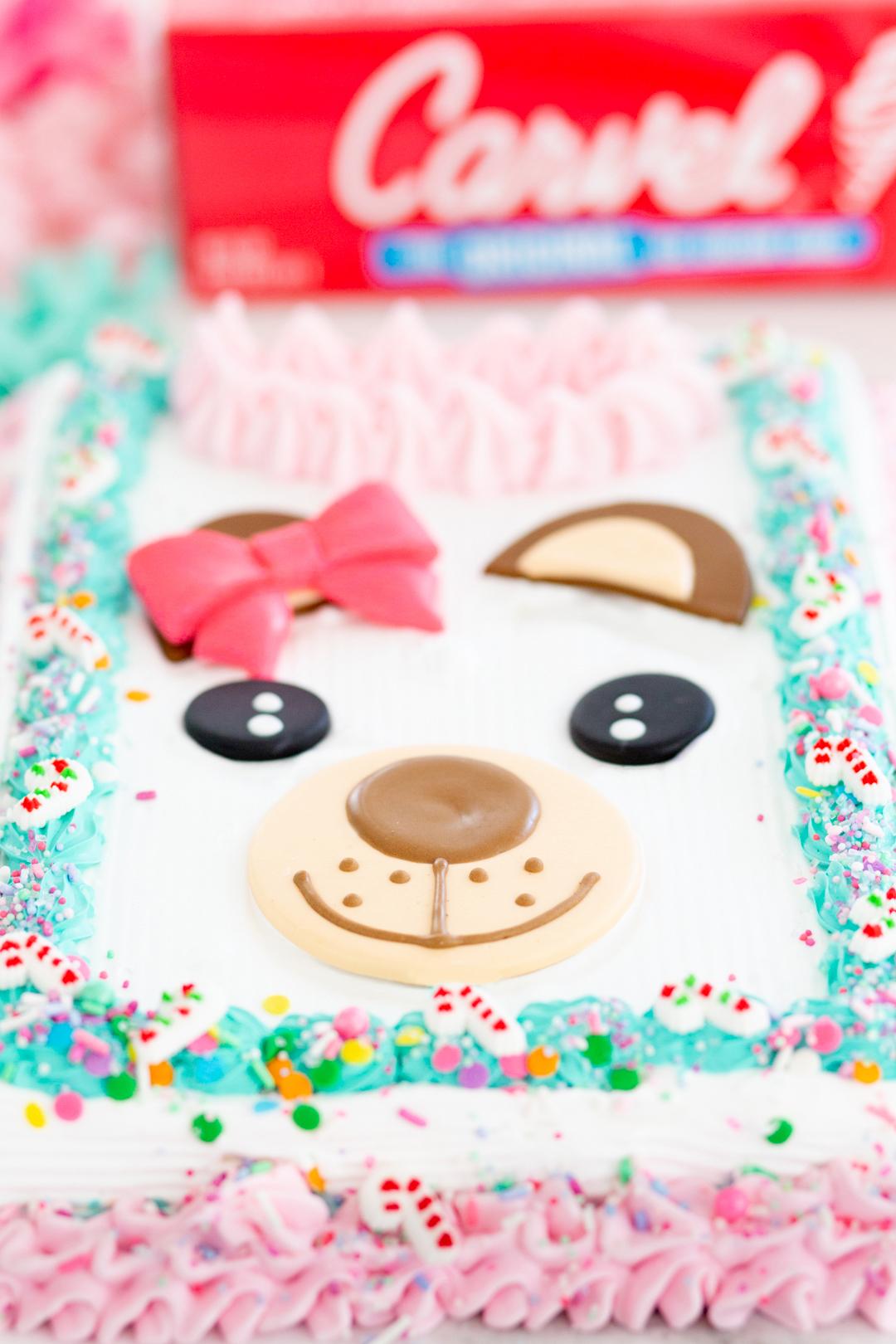cute bear on an ice cream cake