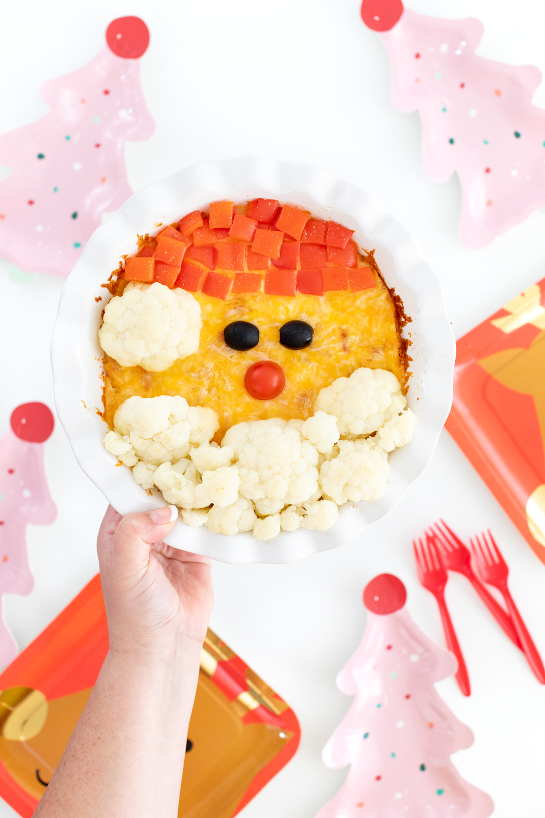 cute egg casserole with santa casserole on top