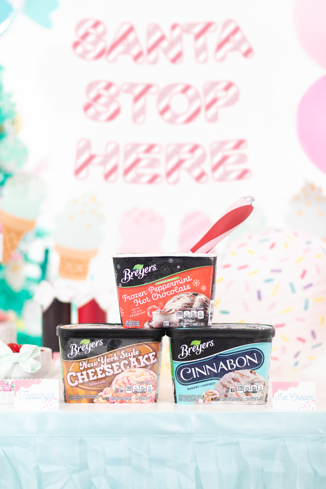 breyers ice cream for a holiday ice cream buffet