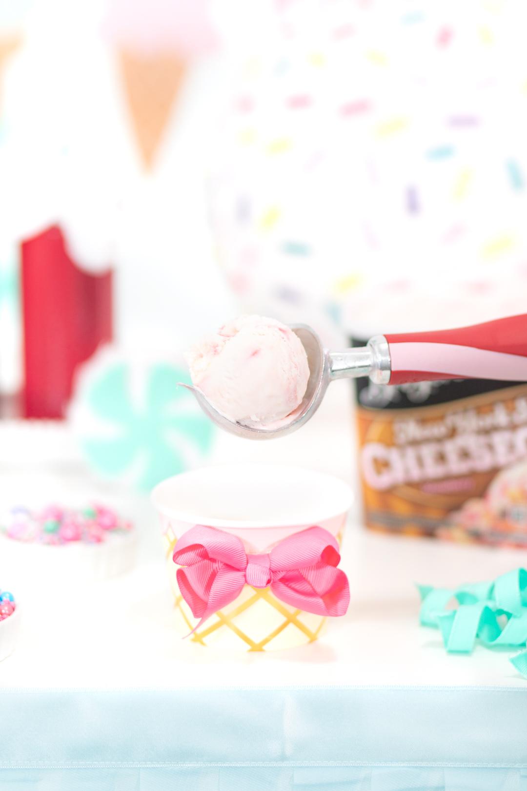 scoop of strawberry cheesecake ice cream