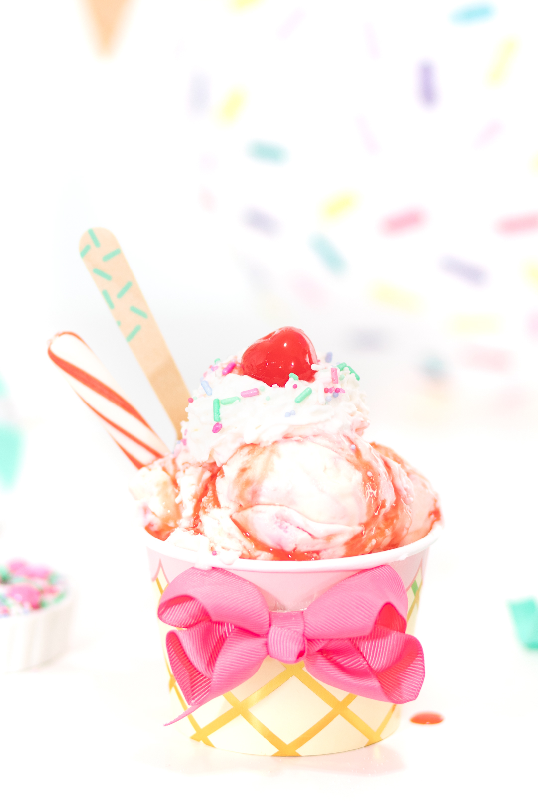pretty pink ice cream sundae that is whimsical