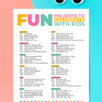 fun list of holidays that can be celebrated with kids.