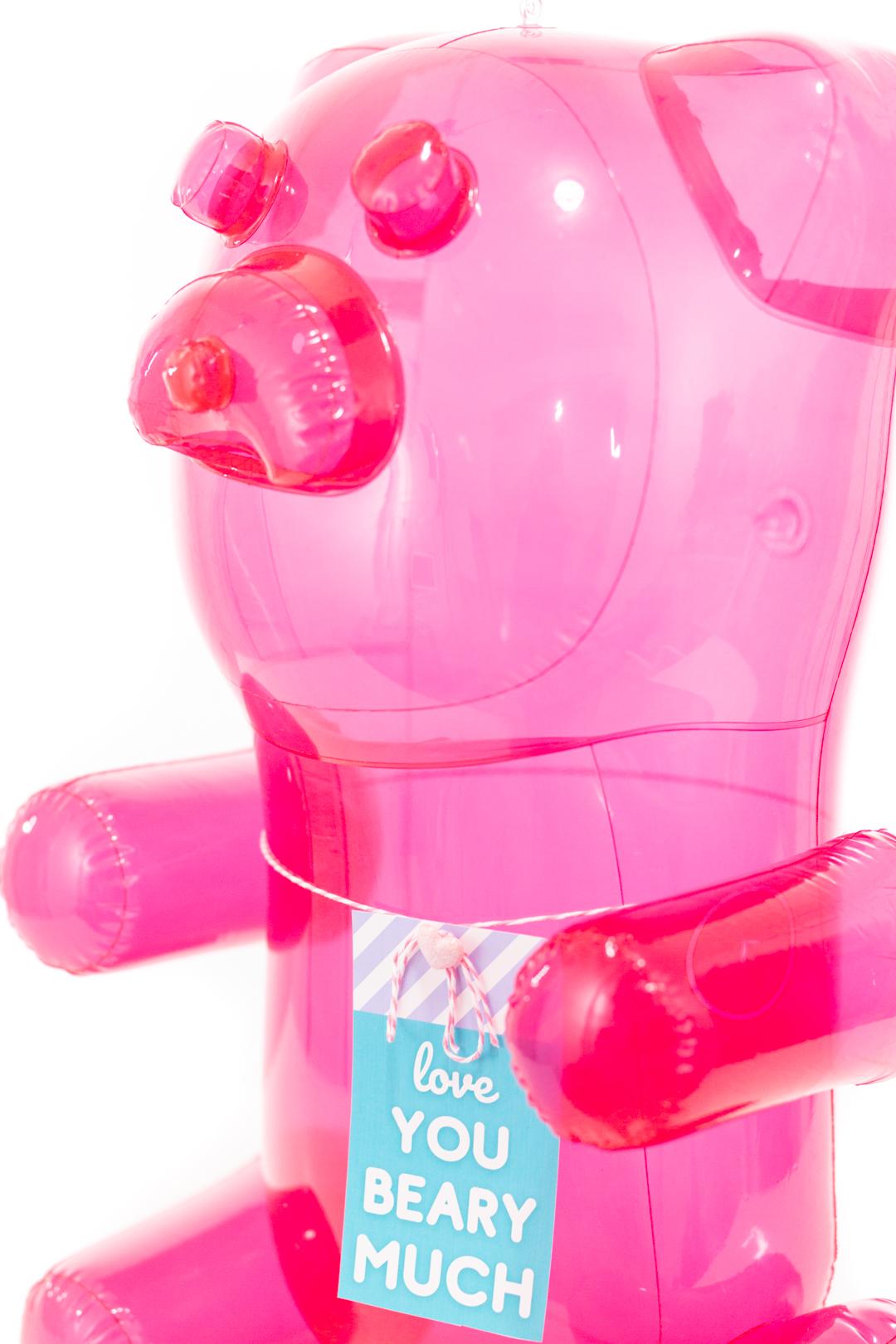 huge inflatable pink gummy bear