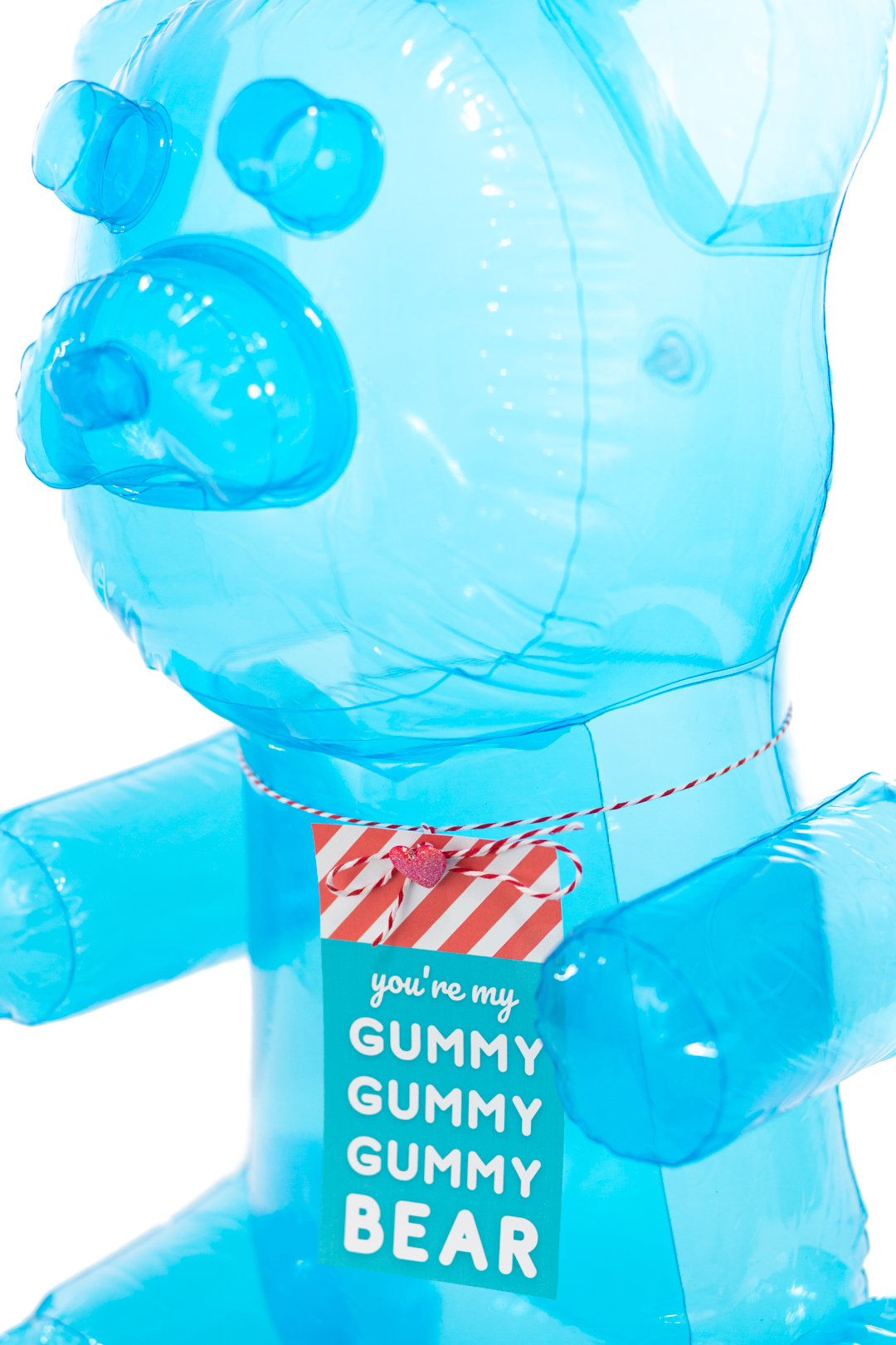 big blue inflatable gummy bear with printable gift tag for gifting