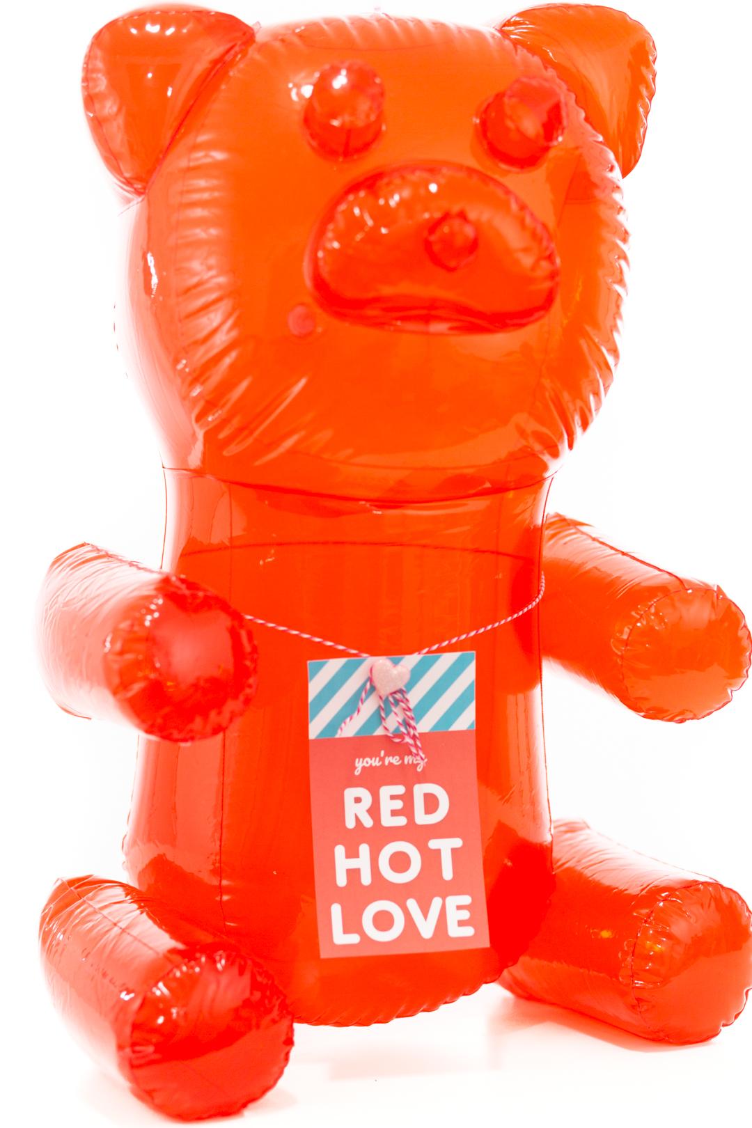 Red hot love = cute blow up gummy bear gift idea.