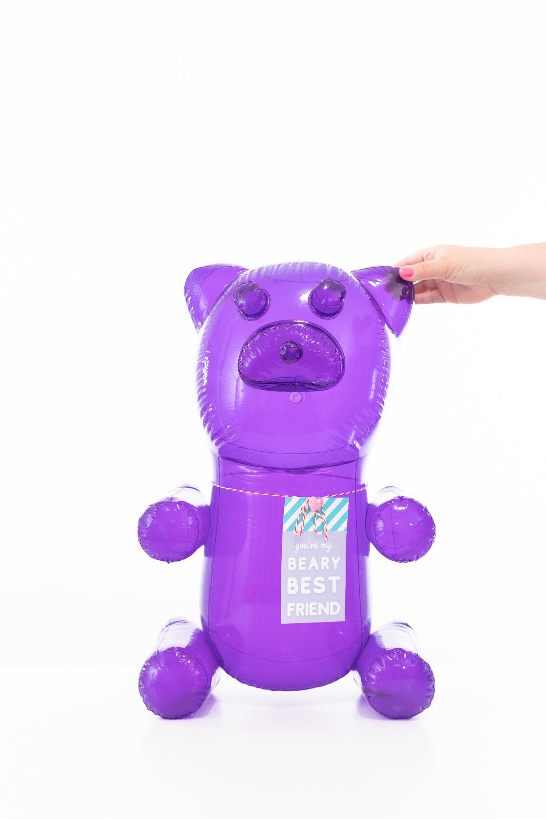 huge purple blow up gummy bear novelty