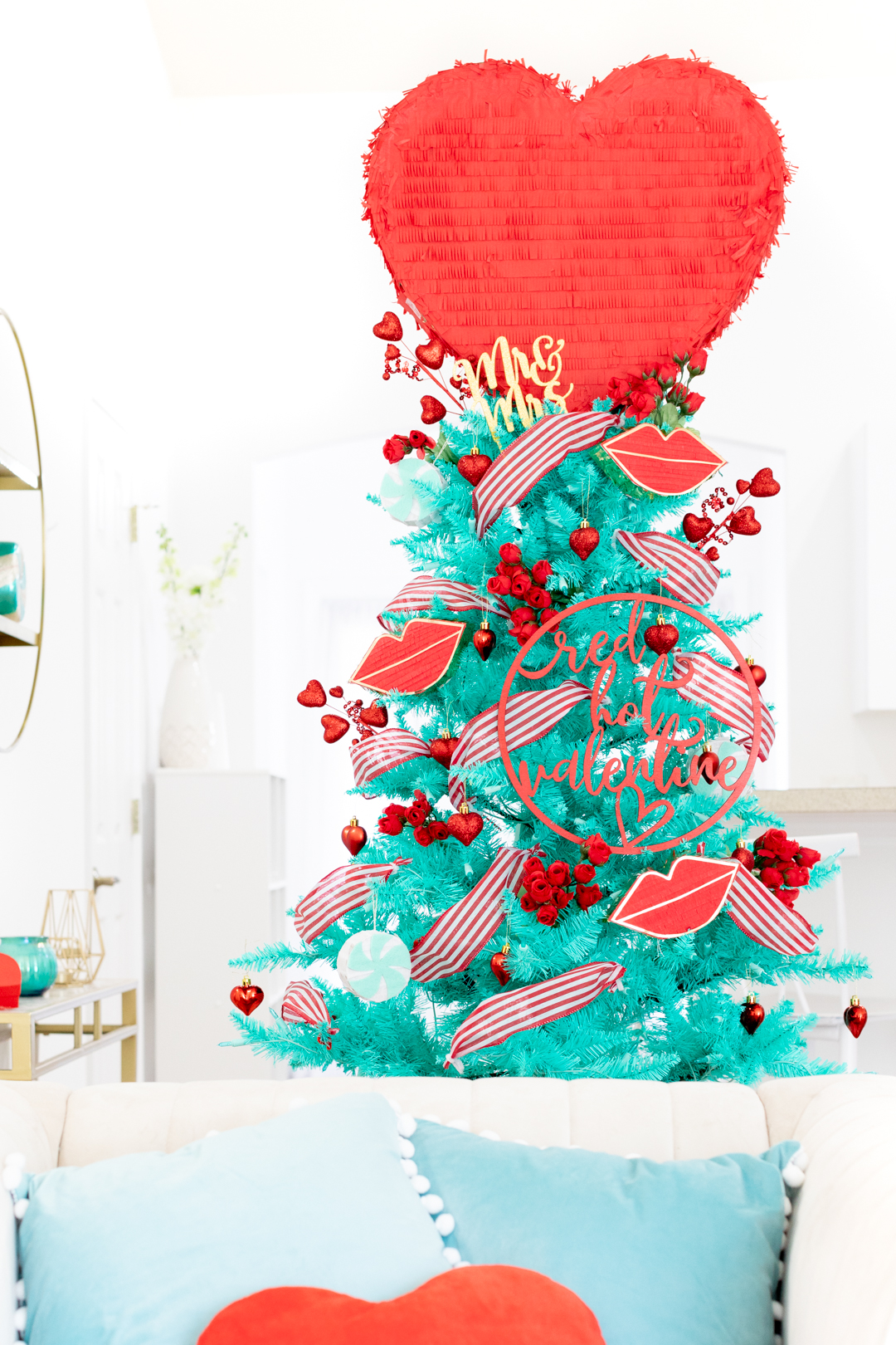 romantic valentine's day christmas tree with big red heart topper