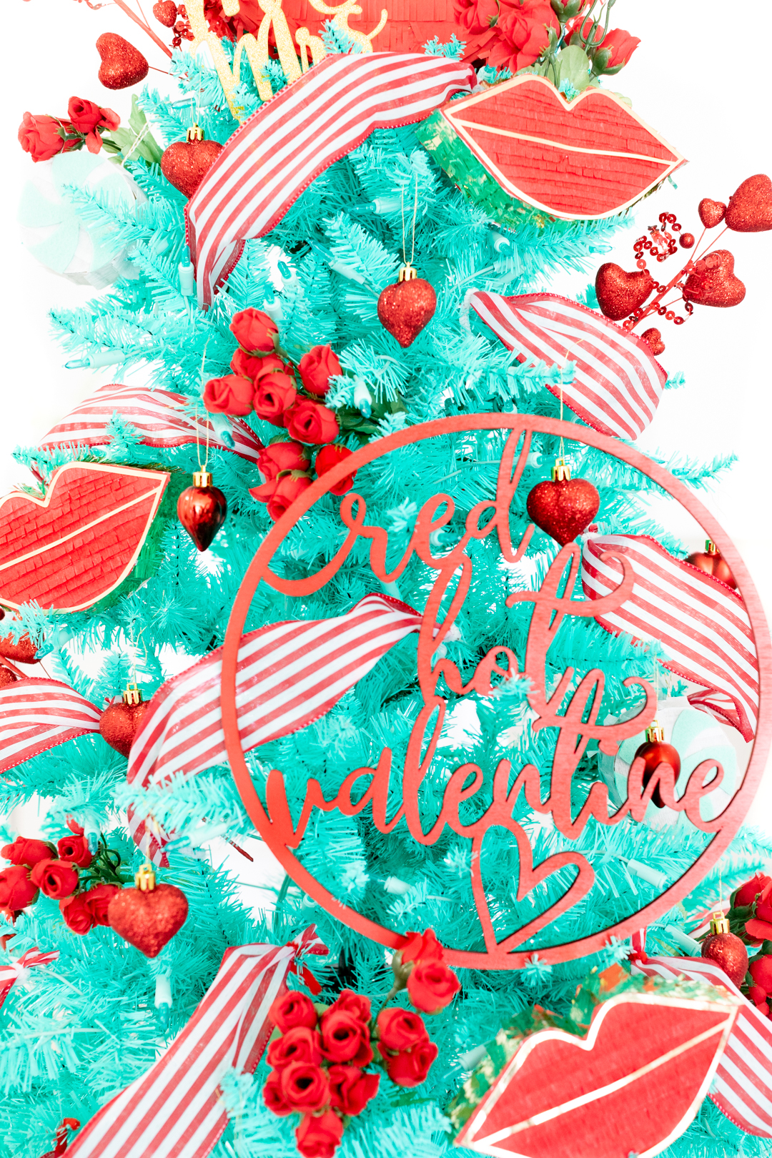 red hot valentine wooden sign used as tree ornament