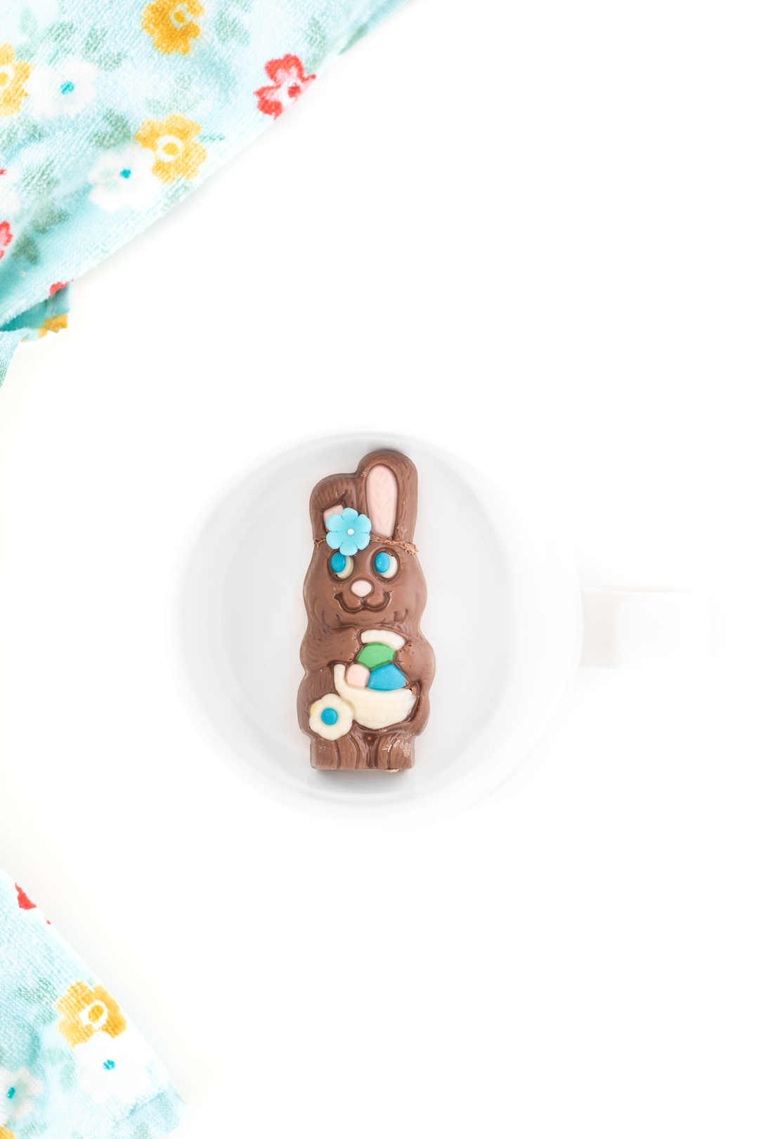 easter bunny hot cocoa melt in an empty mug