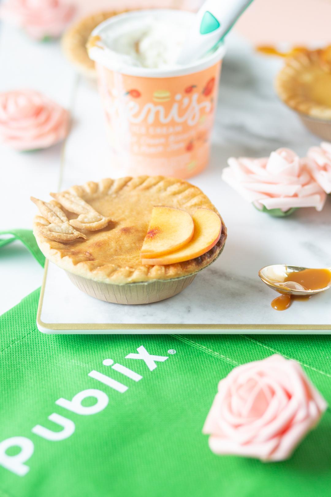 publix reusable bag and pretty mini peach pie