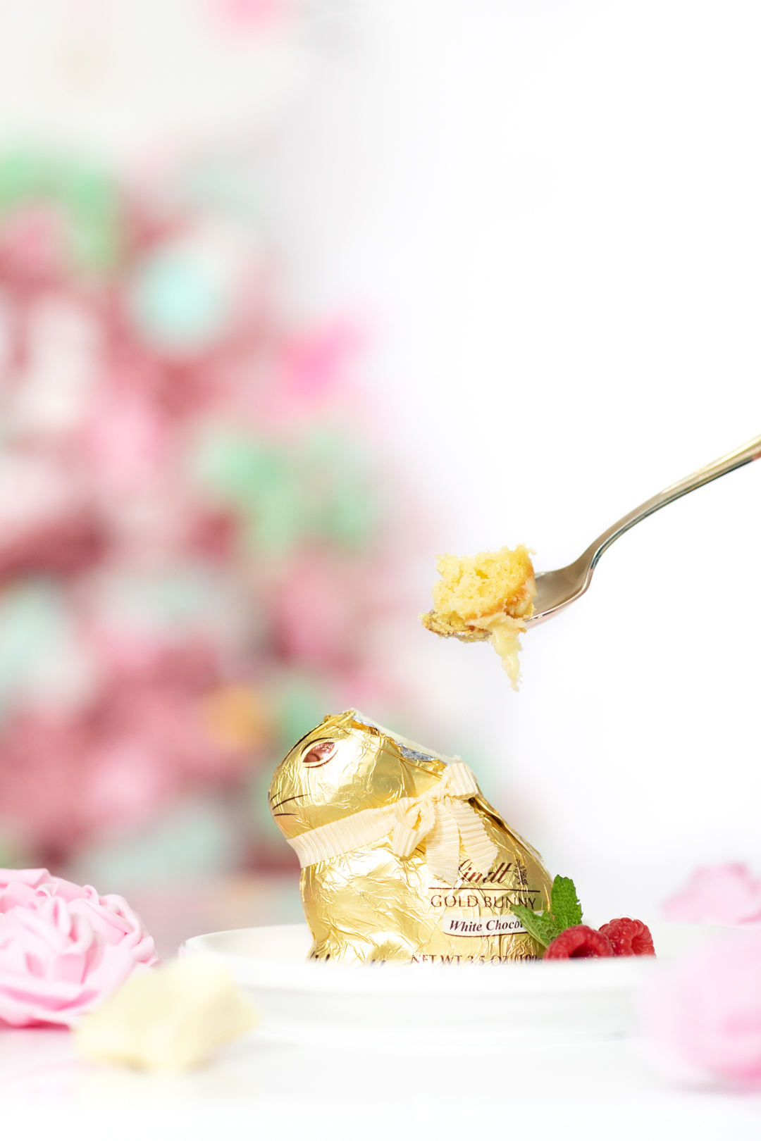 adding cake to hollow easter bunny
