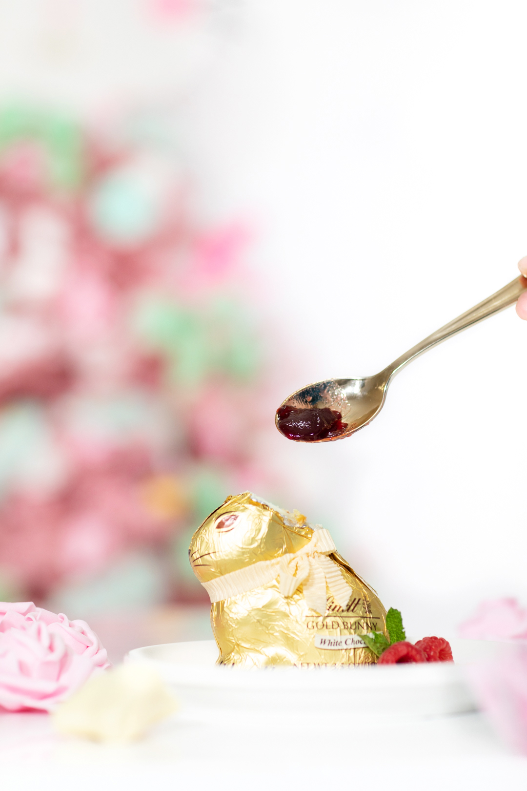 adding raspberry jelly to hollow easter bunny