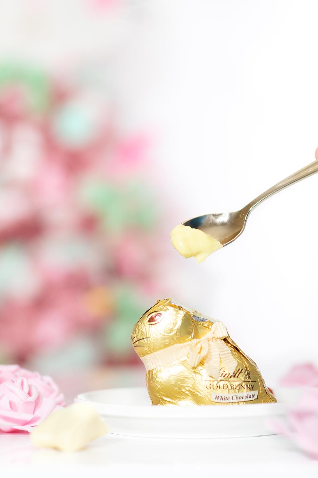 adding lemon pudding to hollow easter bunny