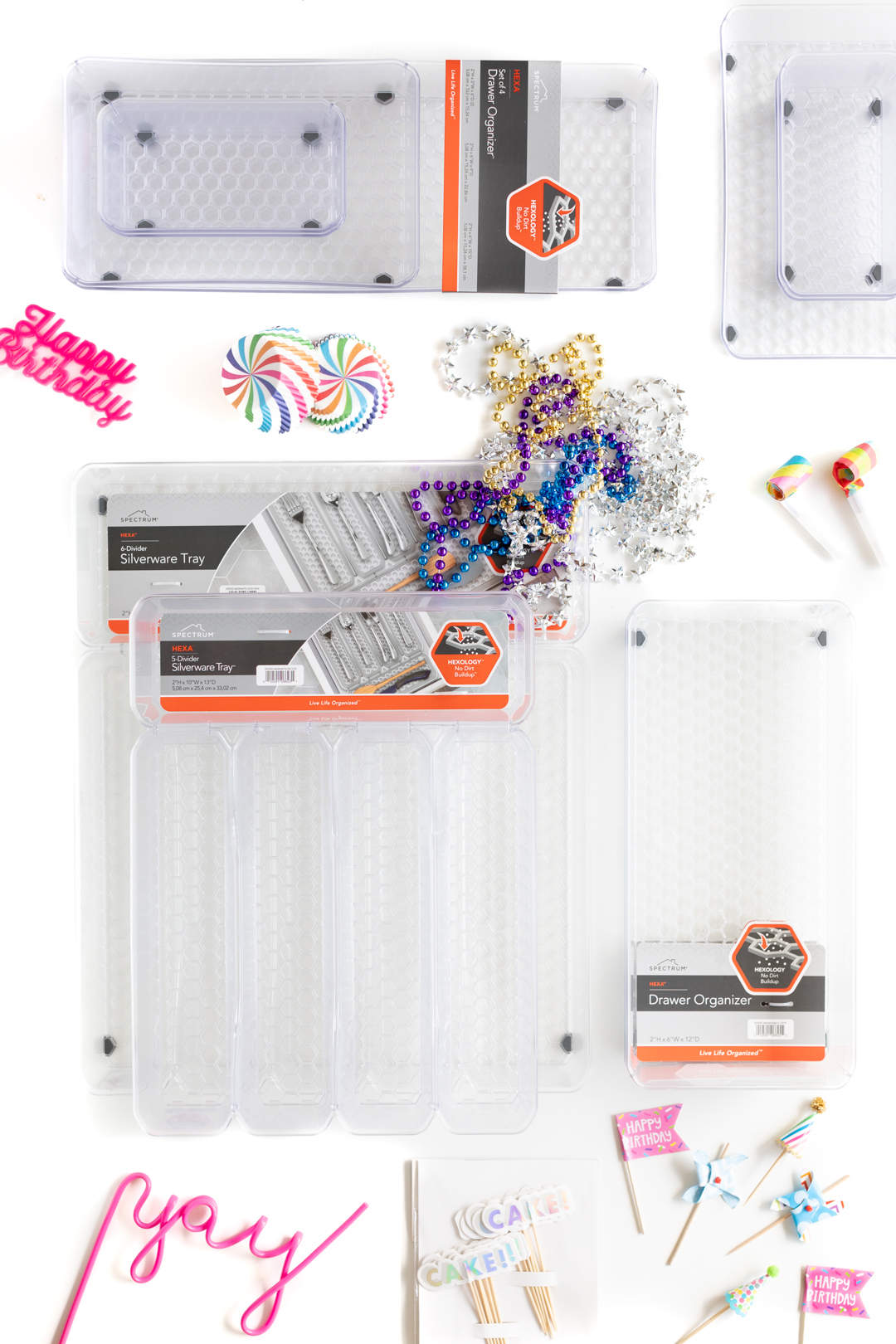 HEXA organizers in a variety of sizes.