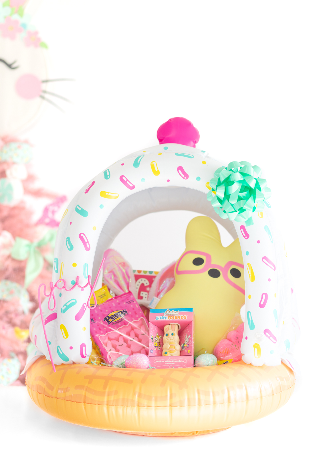 ice cream themed easter basket made with an ice cream cone float for infants