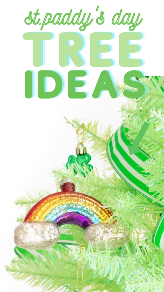 St. Patrick's Day Christmas Tree Ideas. Cutest St. Paddy's Ornaments and Tree Topper. Easy tutorial. Mini Light Green Lime Christmas Tree.