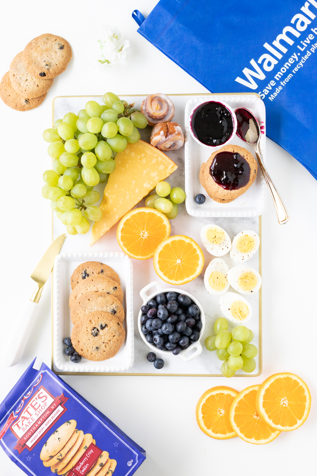 simple brunch tray on a rectangular tray with a walmart bag nearby