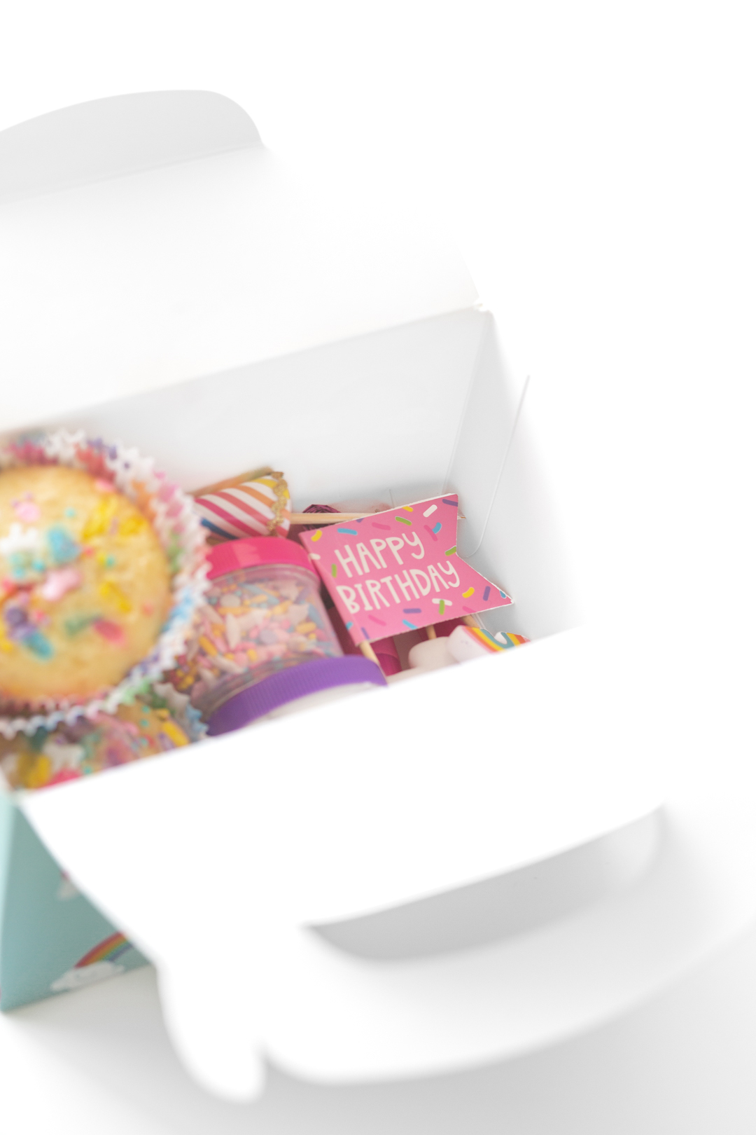 peek inside of a cupcake decorating kit with happy birthday cupcake pics, sprinkles and unfrosted cupcakes