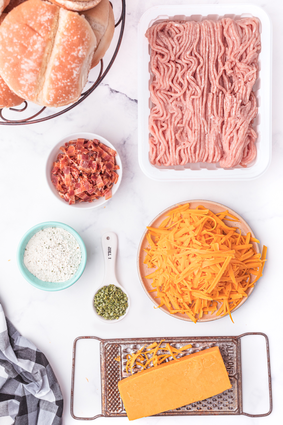ingredients laid out for chicken burger recipe