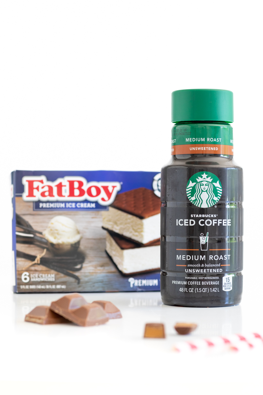 starbucks store bought iced coffee and fat boy ice cream sandwiches in the product box