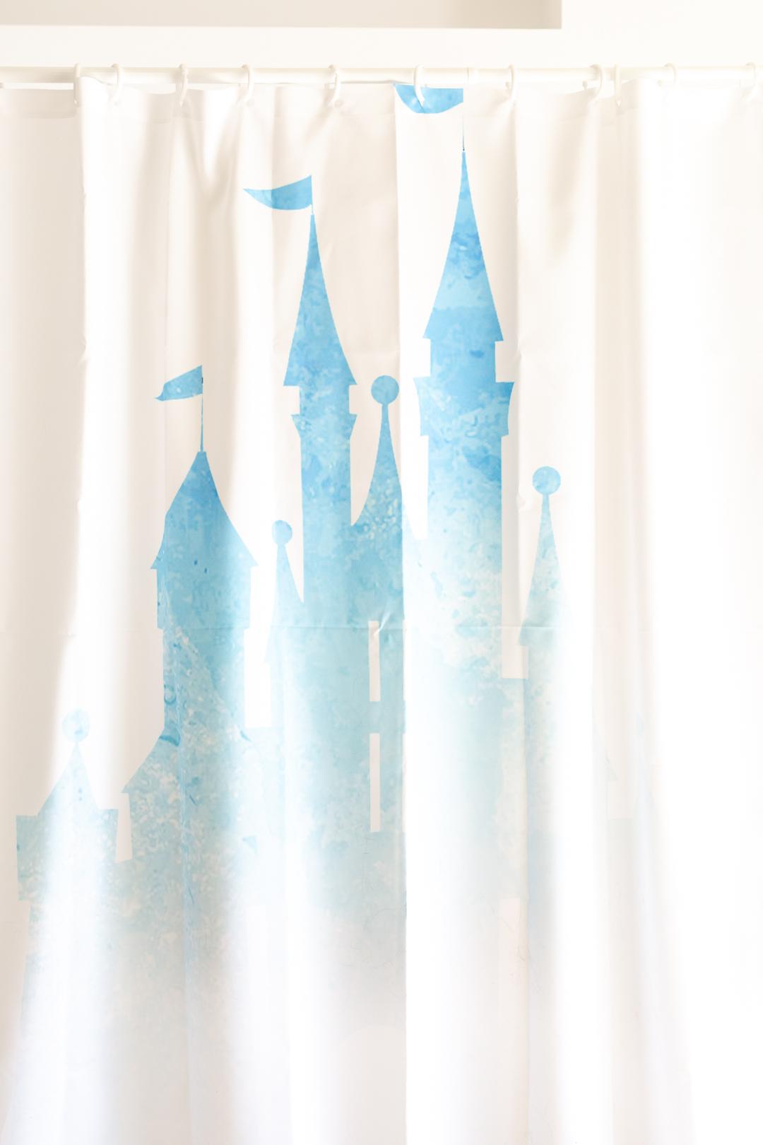 pretty disney castle magic kingdom Cinderella's castle shower curtain. all white with blue watercolor.