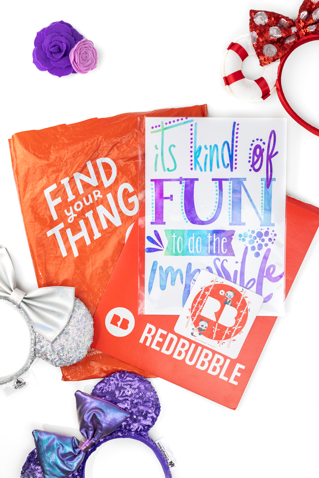 red bubble unboxing to reveal disney inspired goodies.