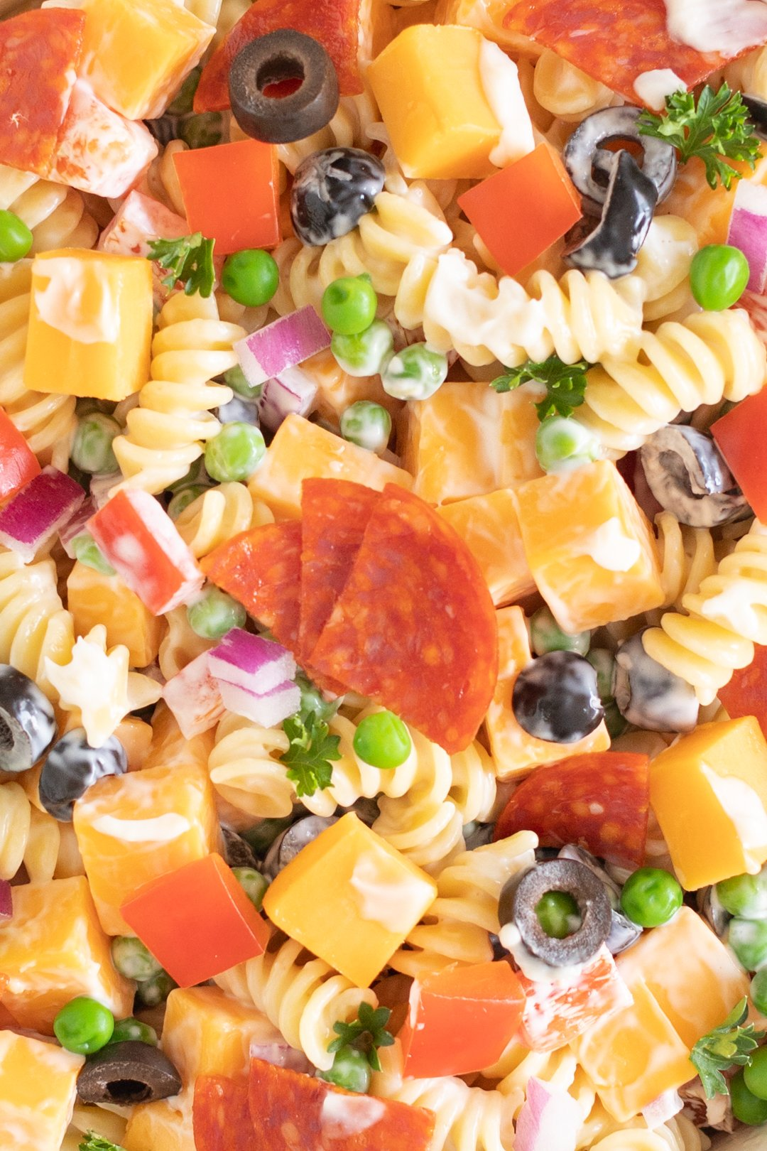 full photo filled with spiral pasta salad with pepperoni quarters, cheese cubes, parsley, black olives, red onions