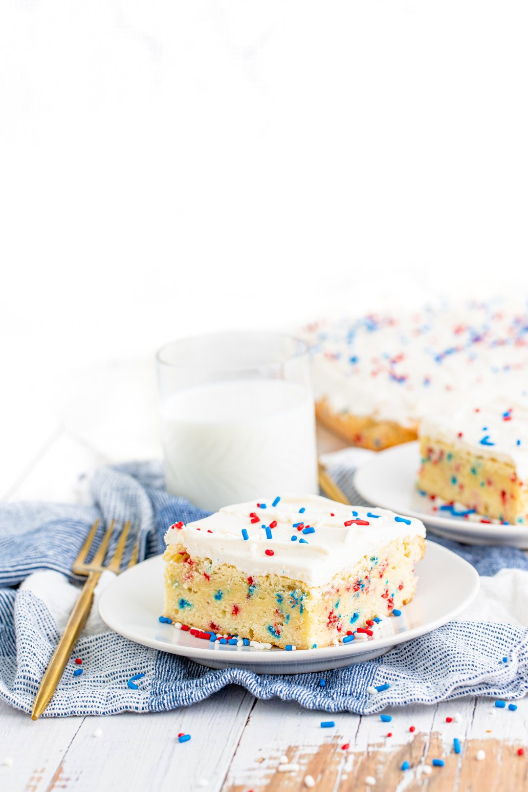 sugar cookie bar decorated for patriotic holidays on a plate