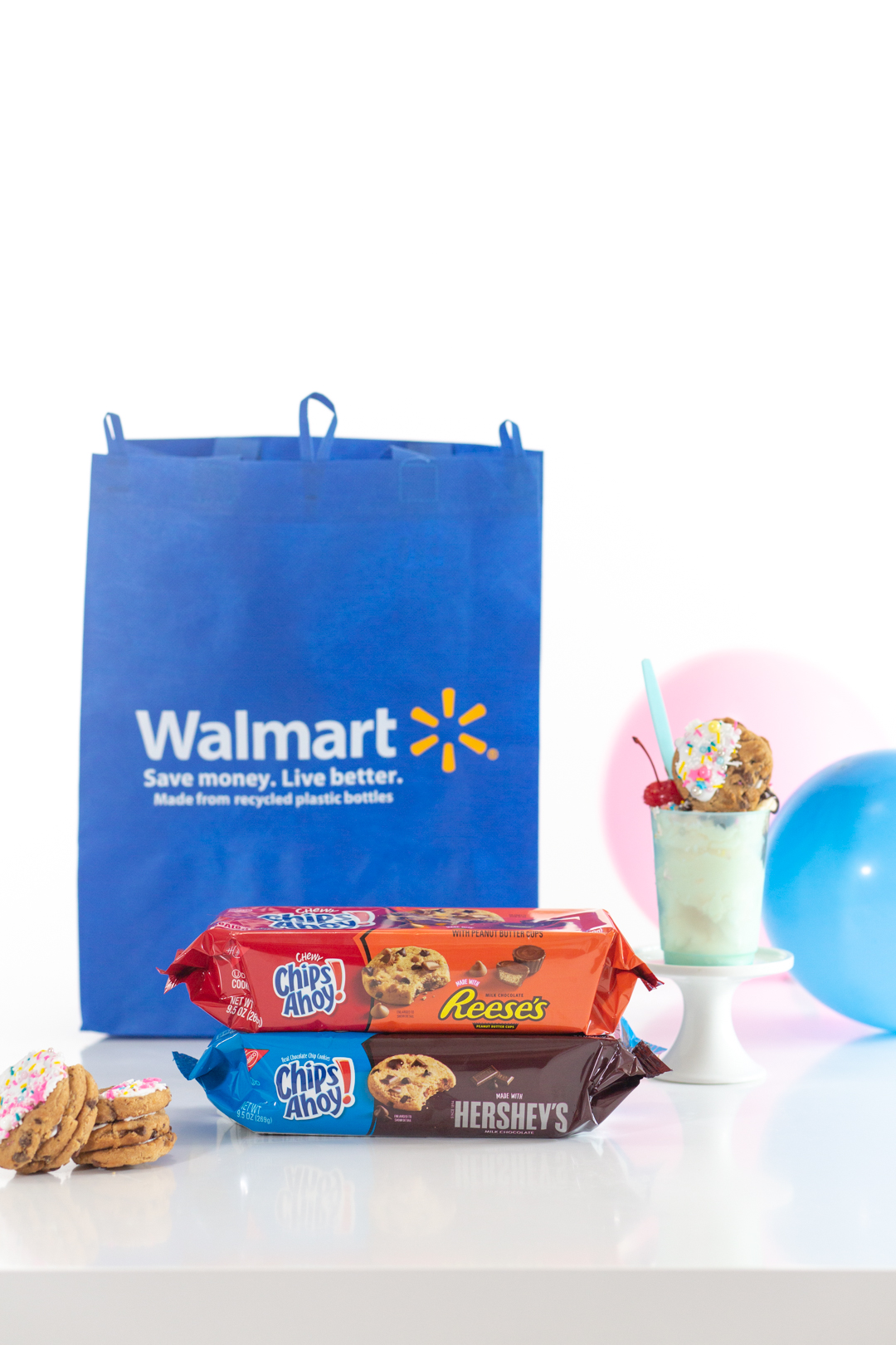 walmart shopping bag and chips ahoy cookies with Hershey
