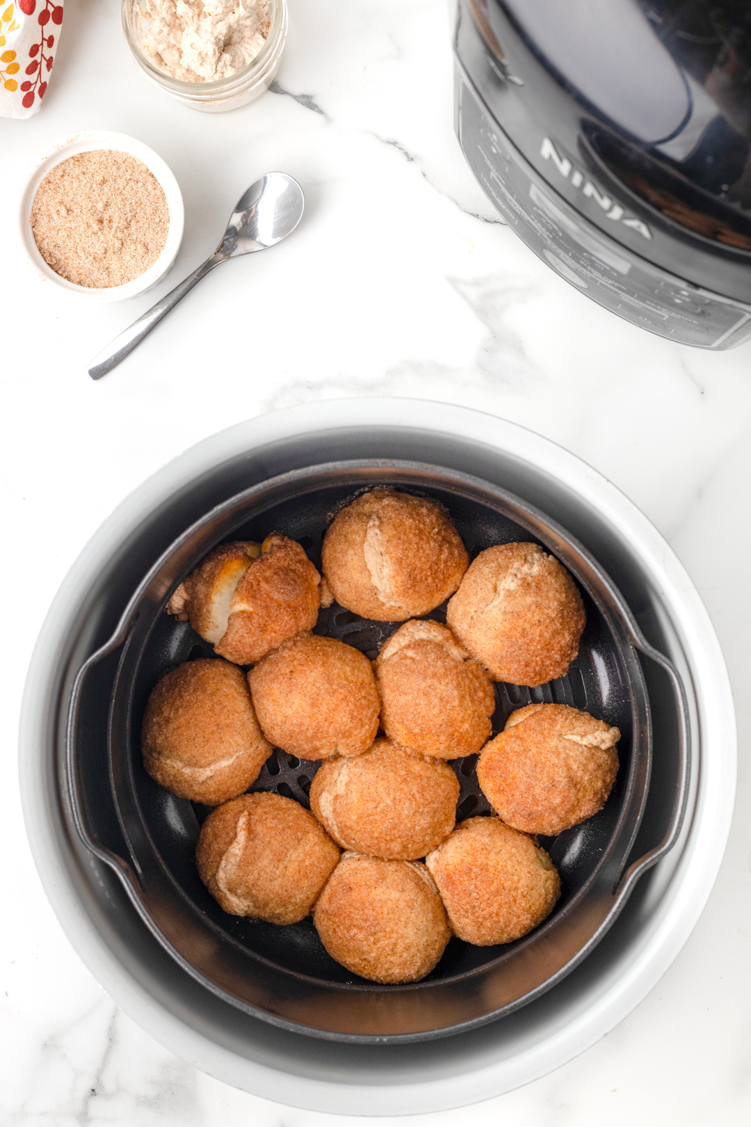 prepared donut bites in the air fryer