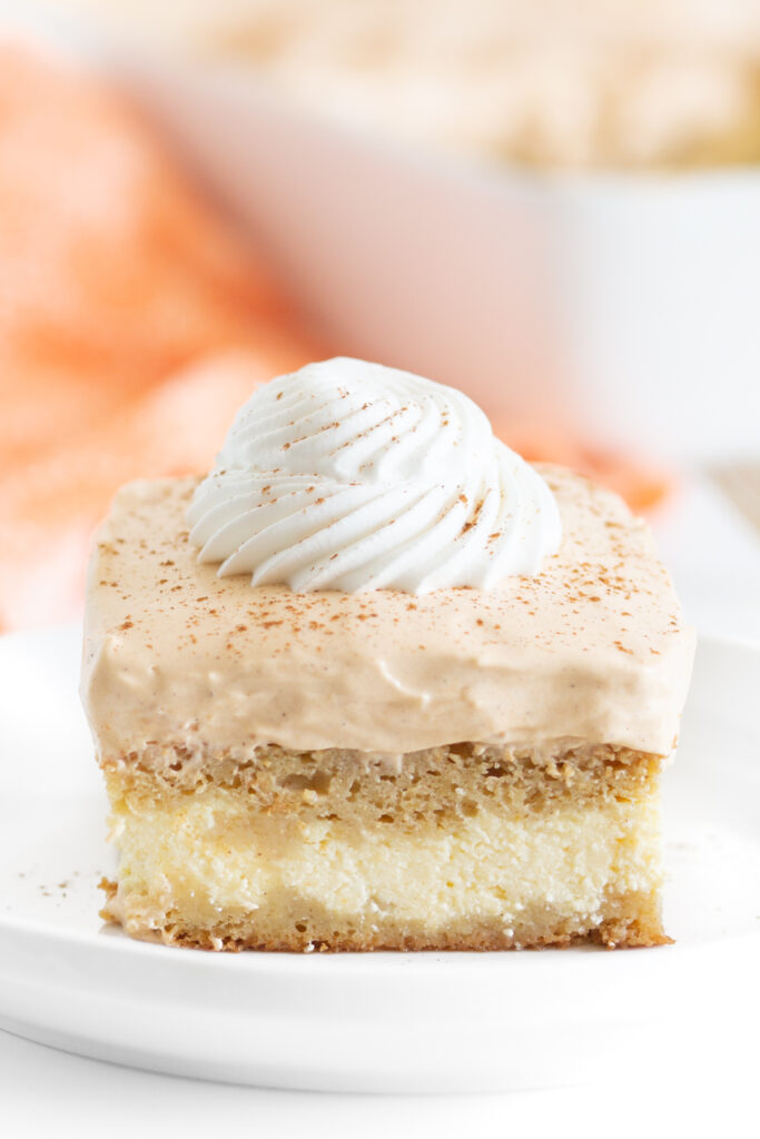 really close up photo of 3 layer pumpkin cake topped with dollop of whipped cream and dash of cinnamon
