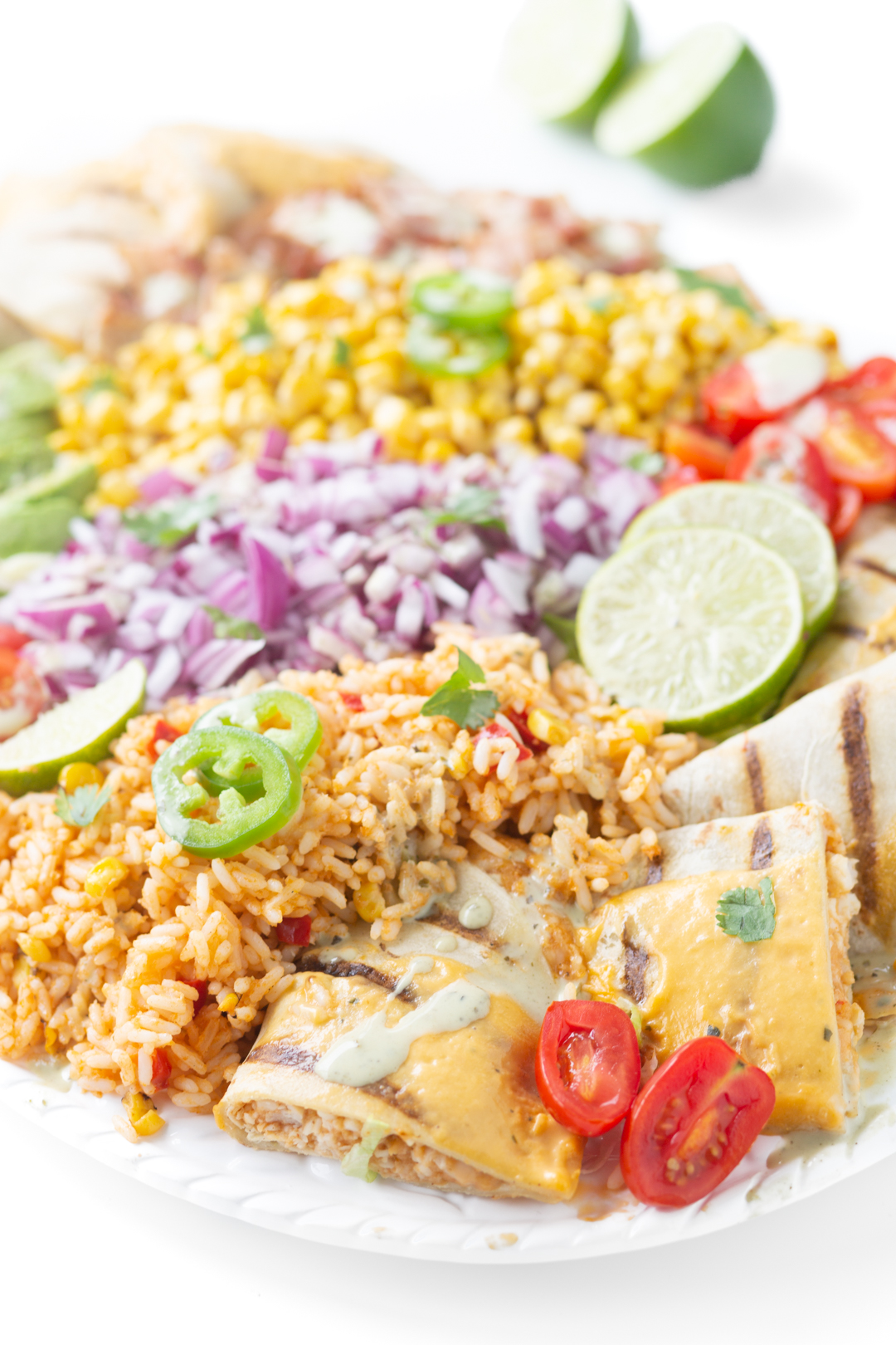 gorgeous salad piled high with rice, diced onions, corn, grape tomatoes, Jalapeño Chili pepper Overview Nutrition facts Care Recipes Videos Share Jalapeño garnish