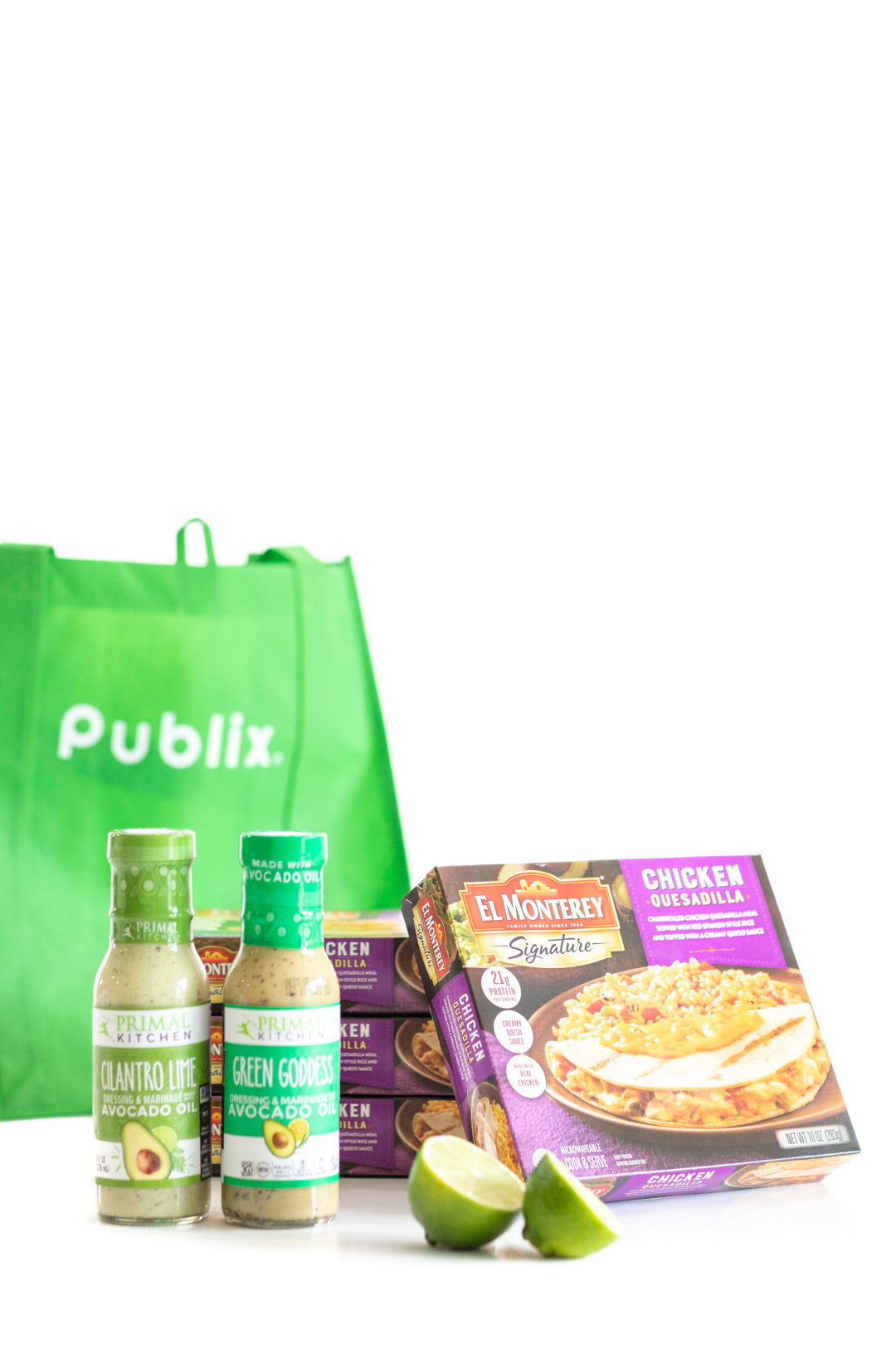 publix reusable shopping bag, Primal Kitchen salad dressings lime and cilantro and green goddess. El Monterey chicken quesadilla meals.