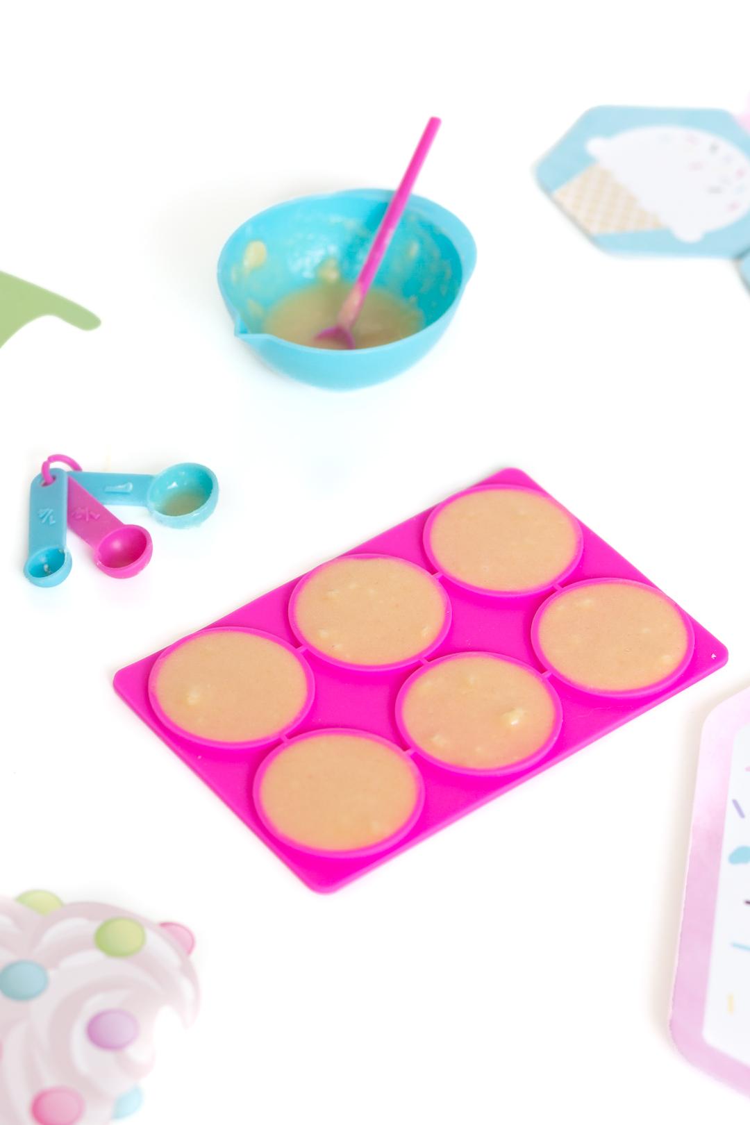 mini bright pink waffle cone silicone mold