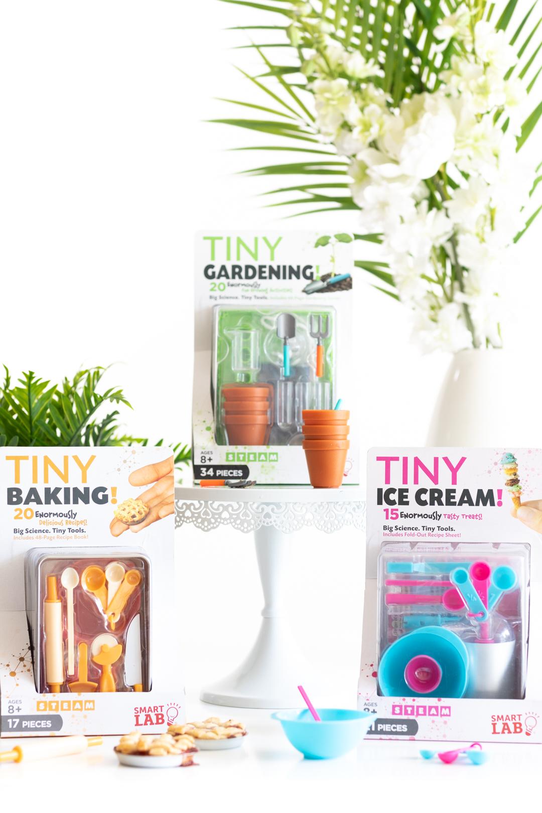 Tiny Gardening Kit, Tiny Baking Kit, Tiny Ice Cream Kit packages
