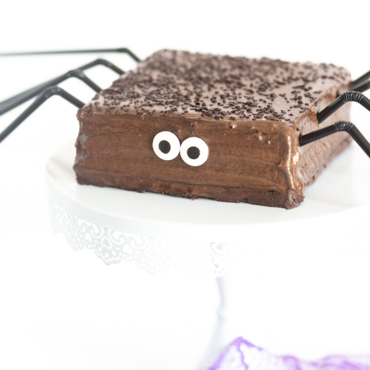 up close view of chocolate cake that is themed to look like a spider with candy eyes and black straws for legs