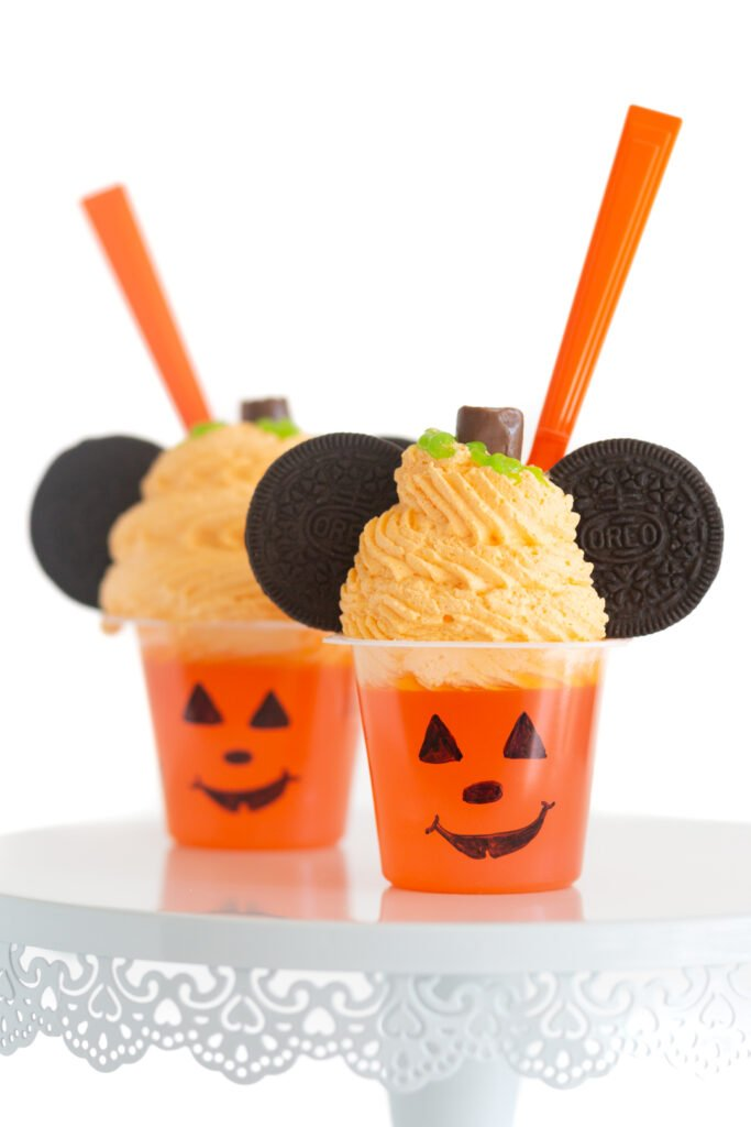 up close view of mickey mouse halloween treat that look like pumpkins
