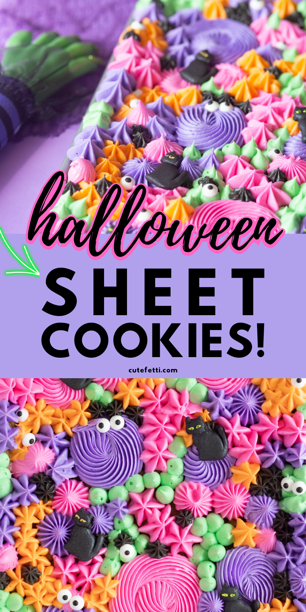 promotional image for trendy sheet pan cookie recipe